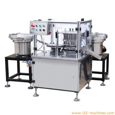 Automatic high speed rotary rubber inserter cap assembly machine plastic cap assembly equipment