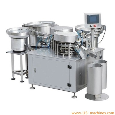 Automatic infusion rubber plug botton inserting assembly machine with rubber cap botton vibrating sorting bowl assembling line