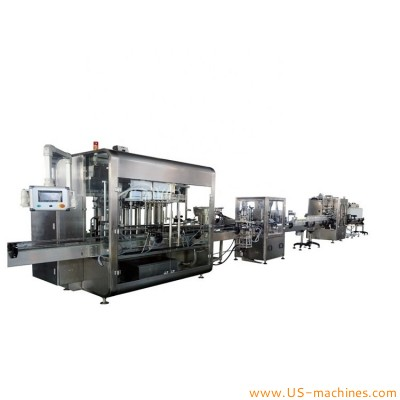 Automatic shampoo body cream lotion food jam paste detergent liquid oil 6 heads bottle filling capping sleeve labeling sealing machine customized line