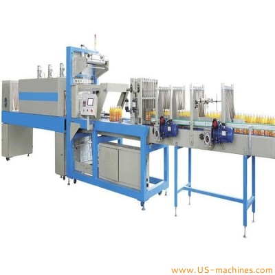 Automatic yogurt milk water bottle in full pack film wrap sleeve sealing shrinking packing machine bottle feeder shrinkable film wrapping line
