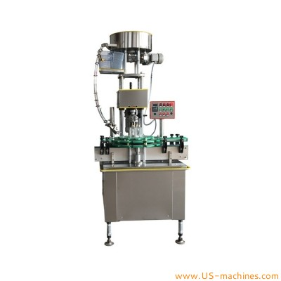 Single head ROPP metal aluminum cap lid cover sealing machine glass wine bottle oral syrup container ROPP automatic sealing packing line