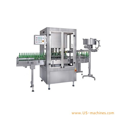 Automatic 6 heads rotary beer bottle metal crown cover lid sealing capping machine crown cap sealer line high speed for beer bottles
