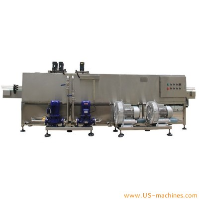 Automatic food glass bottle outer surface cleaning washing air drying machine bottle washing liquid spraying brushing cleaning drying line