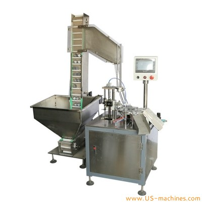 Automatic big wad lining sassembling machine engine oil lub oil bucket pail drum barrel plastic cap lining machine
