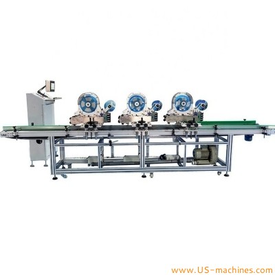 Automatic eggs apple kiwi melon fruit tray high speed labeling machine multi heads small adhesive sticks tag air blow labeling line