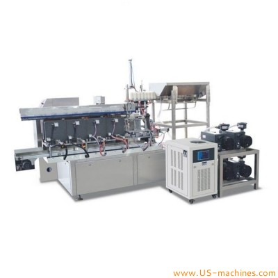 Automatic rotary food snack meat candy granule bag filling lienar type vacuum bag sealing packing machine