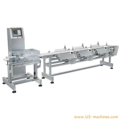 Conveyor belt feeding 8 station fish seafood fruit weight checker sortor machine 8 class weighing grading line for food industrials