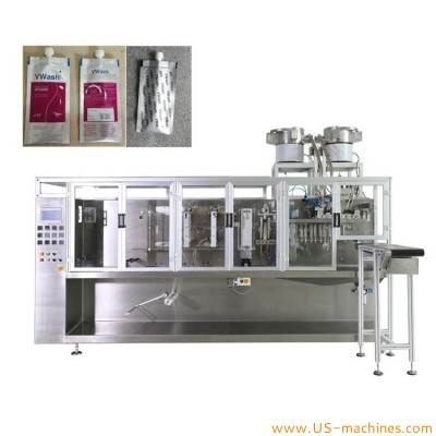 Automatic horizontal HFFS shampoo liquid lotion sauce jam paste cream bag forming filling sealing machine with flip cap inserting feeder bowl