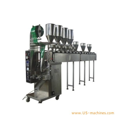 Automatic mixed several materials various granule different powder vertical bag sachet packing machine with bucket feeder conveyor multi cup dosing line