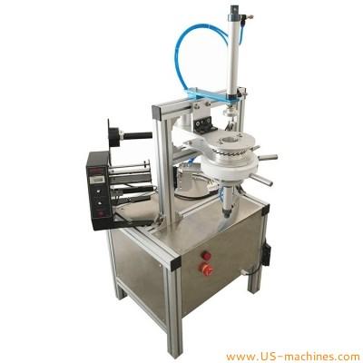 Semi automatic soap pleat inserting sealing packing machine soap pleat wrapper adhesive stick labeling dispensing machine soap pleat labeler
