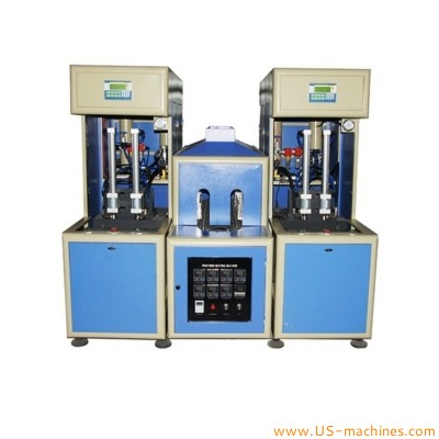 Semi automatic seperated 2 cavity bottle blowing machine with shared heating machine preform bottle 2 individual plastic bottle maker blower