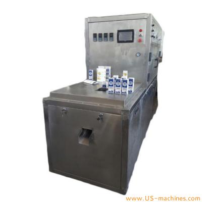 Semi automatic 200ml 250ml 1L brick paper carton liquid flavored milk juice filling sealing machine paper aluminum composite film brick box