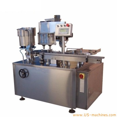 Antibiotic glass bottle vials sterilizer powder rotary filling rubber stopper sealing capping machine high accuracy antibiotics biochemical drugs powder packing line