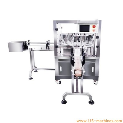 Peanuts pistachios almonds cashews nuts coffee bean pet food granule automatic multi heads weighing filling machine for botle can tin jar