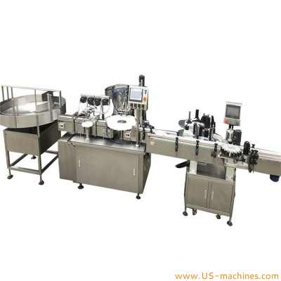 Automatic turntable small bottle feeding essentil oil E juice filling capping labeling machine 30ml 50ml bottle packing customized line