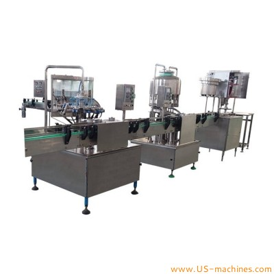 Automatic wine juice beverage glass bottle rinsing rotary filling capping machine alcohol liquid washing filling bottling packing line