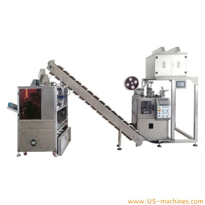 Automatic pyramidal tea bag vertical packaging machine conveyor feeding second pack with outer envelop vacuum back seal filling packing machine