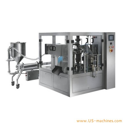 Rotary bag given liqiud sauce jam paste cream filling vacuum sealing packing machine automatic premade pouch tomato sauce ketchup vacuum packer