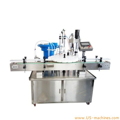 Automatic plastic small bottle 10ml 30ml 50ml vial dual nozzles rotary oil cosmetic perfume liquid filling plastic cap cover capping machine with sorting feeder bowl