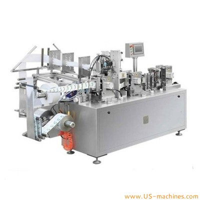 Fully automatic wet wipes alcohol pad paper tissue meidical alcohol swabs making four side seal bag inserting filling sealing packing machine