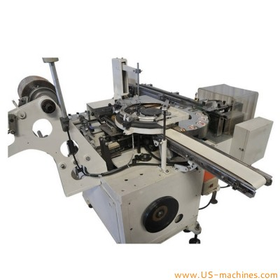 Automatic tapes paper sticks label placing rotary film wrapper sealing packing machine with tapes feeding bowls