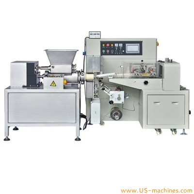 Clay dough plasticine extruding cutting flow bag film wrapping filling sealing packaging machine clay mub packing equipment