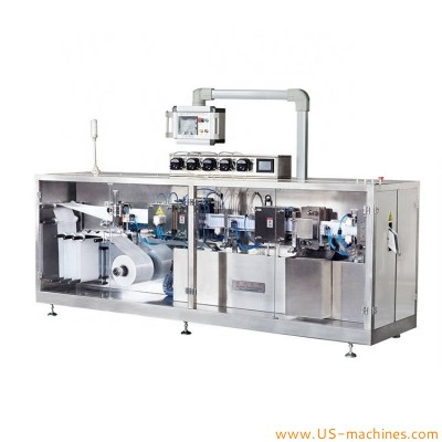 Automatic ampoule disposal essential oil small dose oral liquid vial ampoule eyedrop horizontal film forming filling sealing packing machine BFS with 5 needle nozzles filler