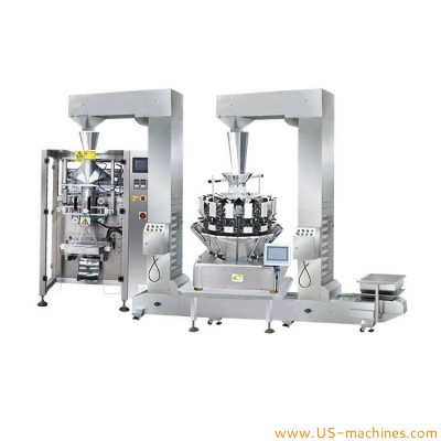 Automatic weighing heads filler banana chips dry fruit snacks double Z type feeder assembled vertical bag filling sealing packing machine