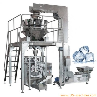 Multi weighing heads 500g 1kg 2kg Ice Cube block bag filling sealing packing machine for seafood ice frozen cube bag fully automatic