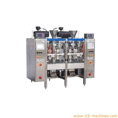 Automatic dual lanes individual seperate 2 lanes vertical filling sealing bag packaging machine with multi heads weigher heads