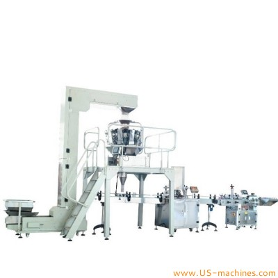 Automatic popcorn puffed snack nuts candy can tin jar weighing filling sealing labeling cover placing packing cutomized machine line