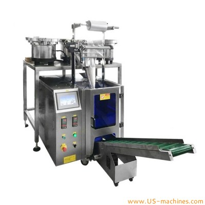 Automatic 3 vibrating bowl feeder filling bag sachet sealing packing machine for hardware plastic parts screw bolt bearings nuts washers