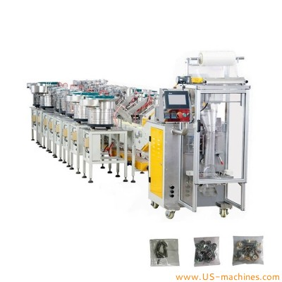 Automatic multi vibrating bowls 8-16 accessories sorting feeder hardware bag forming counter filling sealing packing machine