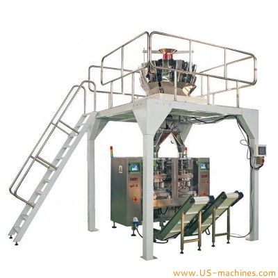 Automatic vertical wet noodle weighing bag vertical packing machine with multi head weighers system two lane fresh noodle packer