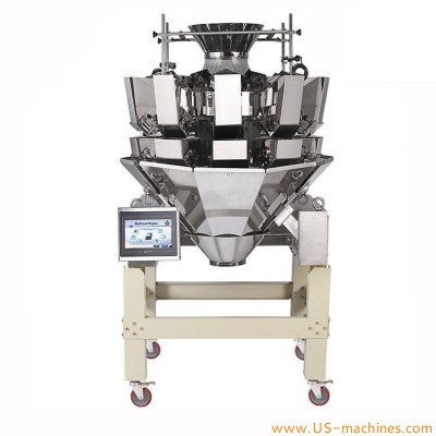 Automatic 10 station graunle nuts food snacks weighing heads machine multiheads weigher equipmetn 10 heads weighing system