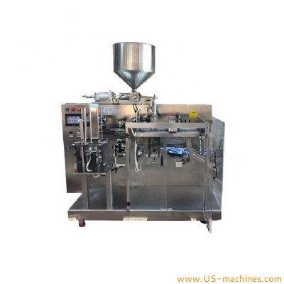 Automatic premade bag sachet horizontal filling sealing packing machine for liquid baby shampoo food brinks doypack customized shape bags