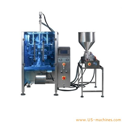 Automatic seed nut peanut edible oil bag sachet 1L pouch filling sealing packaging machine olive oil pneumatic type filler with hopper