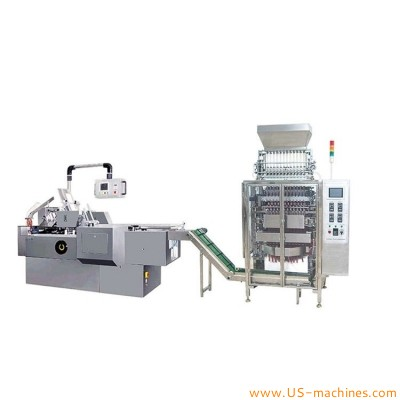 Automatic granule powder liquid bag sachet stick multilanes filling sealing packaging machine with cartoning machine bag in pack encaser