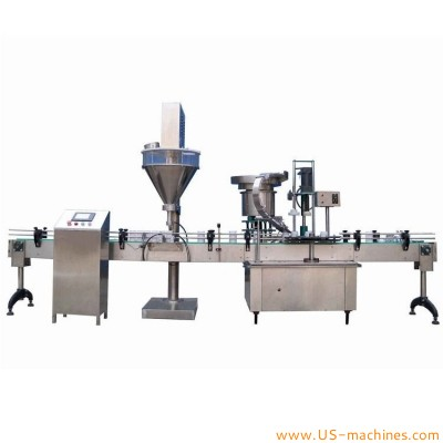 Automatic powder bottle jar filling capping induction sealing packing line for grind powder customized packing line