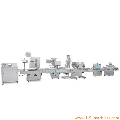 Automatic tablet capsule bottle unscrambling feeding counting filling capping sealing labeling packing line