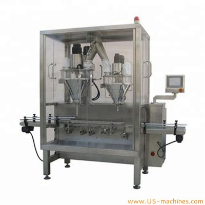 Automatic high accuracy condiment powder milk powder can tin dual nozzles filling machine metal can tin coffee sugar salt filler line