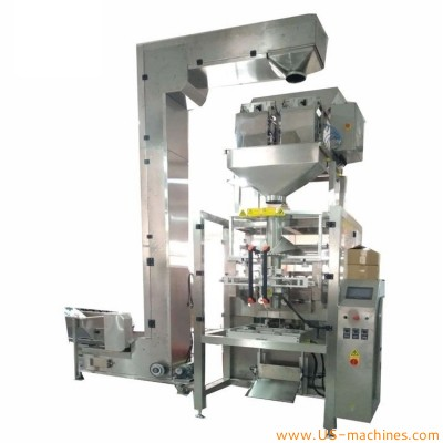 Automatic 2 heads linear weighing hardware metal bolt plastic parts large bag filling sealing machine granule nut bean rice bagging line