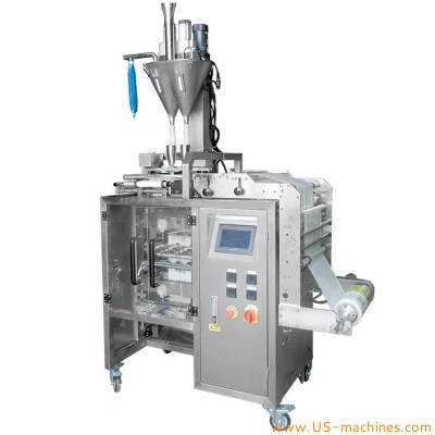 Automatic double lanes 4 side edge seal bag sachet stick filling sealing packing machine with double auger filling system