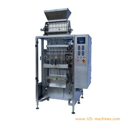 Automatic 12 lanes high speed small long sachet stick bag vertical filling sealing packaging machine for instant drinks powder granule