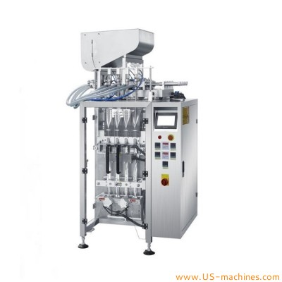4 lanes liquid paste piston pneumatic type filling bag sealing packing machine mutlilane vertical film forming filler sealer with feeding tank