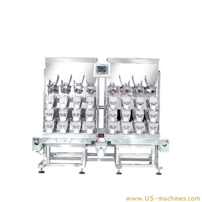 Automatic 8 heads weigher filling packaging machine multiheads weighing system with 3 lane buckets