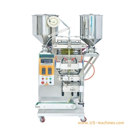 Double filling nozzles hair dye color shampoo oil liquid twin layers dual bag sachet filling sealing packaging machine