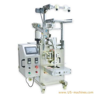Automatic single piece vibrating bowl feeding counting filling sealing packaging machine for hardware electronic component plastic bags pouch