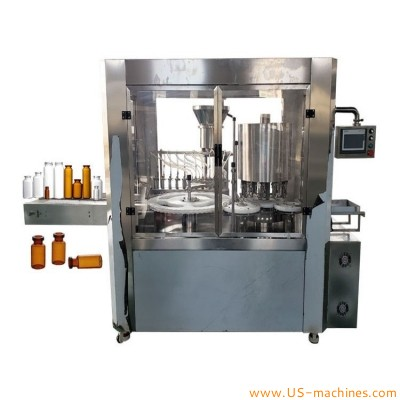 Pharmaceutical liquid penicillin bottle oral liquid filling ROPP sealing machine automatic high speed rotary glass vial filling aluminum cover lid sealing line