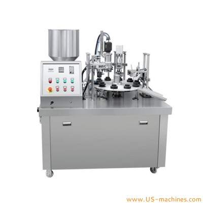 Semi automatic rotary soft plastic tube single nozzle filling heat sealing machine for cosmetic makeup cream ointment medical cream